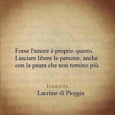 Forse l'amore è proprio questo. Lasciare libere le persone, anche con la paura che non tornino più. Insanity -Lacrime di Pioggia