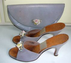 Early 1950s Springolators & matching bag by Rayne, with  porcelain flowers & rhinestones