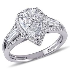 2.75 CT. T.W. Diamond Three-Stone Halo Engagement Ring in 14K White Gold - Sam's Club