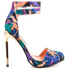 Break some hearts in the sexy Aida pump.  This Privileged silhouette features a colorful floral print vamp and Velcro ankle straps.  Perfect curves and skinny 5 inch stiletto accent the look.