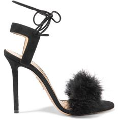 Charlotte Olympia Salsa feather-embellished suede sandals (605 CHF) ❤ liked on Polyvore featuring shoes, sandals, heels, black, charlotte olympia, black sandals, black high heel shoes, high heeled footwear, black suede sandals and black high heel sandals