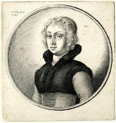 Portrait d'une femme aux cheveux courts ondulés, près de la moitié de longueur, debout et regardant à gauche, vêtu d'une veste de fourrure court avec col relevé, sur le corsage lacé, 1645 Wenceslaus Hollar