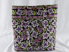 Vera Bradley Tote Bag In Plum Petals Purple Brown Floral Purse Retired EUC   VeraBradley  TotesShoppers dc2fcde244e31