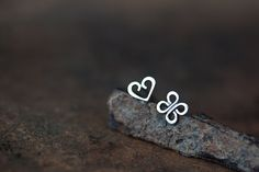 Love and Luck - Tiny Stud Earrings, solid sterling silver, open heart and four leaf clover symbol, romantic Valentine gift for her