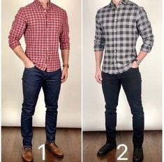"Same awesome flannel shirt.which way would you wear it❓🤔 Black boots or gray boots❓ Shirt: ""The Feliz"" Boots: Left Black Suede Duke Right Gray Suede Duke Flannel Shirt Outfit, Flannel Shirts, Black Shirt Outfit Men, How To Wear Flannels, Mode Man, Herren Outfit, Mens Fashion Suits, Men Style Tips, Mens Clothing Styles"