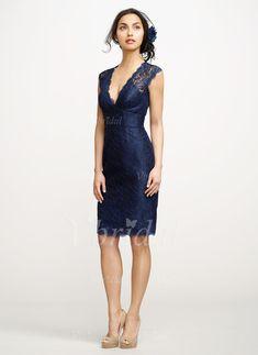 Robes de soirée - $135.02 - Forme Fourreau Col V Au niveau du genou Dentelle Robe de soirée (0175060053)