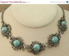 Vintage Faux Turquoise Necklace by DianaKirkpatrickArt on Etsy