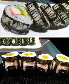 Saw that http://www.designboom.com/design/lasercut-nori-for-designer-sushi/ And did some HAPPY BIRTHDAY sushi by myself for the daughter of a friend!