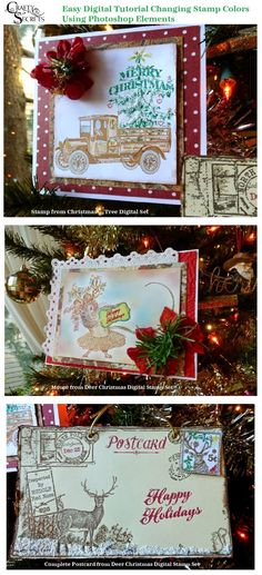 Tutorial showing how to easily change black PNG stamps to any color using Photoshop Elements or the free Paint.net download with 3 different samples using Christmas Tree and Deer Christmas Digital Stamp Sets from Crafty Secrets. Also includes an adorable  Free Christmas Printable Postcard!