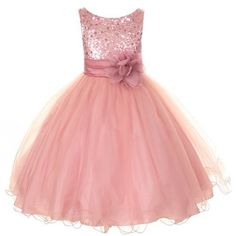 Kids Dream Little Girls 4 Rose Sequin Double Mesh Flower Girl Dress  - Click image twice for more info - See a larger selection girls pink dress at http://girlsdressgallery.com/product-category/girls-pink-dresses/- girls, little girls, kids, kids fashion, girls fashion, girls dress, casual dress, everyday dresses, gift ideas