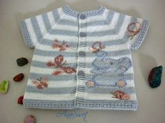 Hand knit baby vest .Baby vest with  elephant and butterflies.