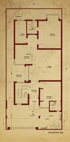 A floor plan is a type of drawing that shows you the layout of a home or property. Floor plans typically illustrate the location of walls, windows, doors, 5 Marla House Plan, 2bhk House Plan, Duplex House Plans, Modern House Plans, Small House Plans, House Floor Plans, Residential Building Plan, Home Building Design, Four Bedroom House Plans