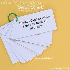 Free Printable How to Apologize Social Scripts for Kids Free printable apologizing social scripts for kids with autism or hyperlexia from And Next Comes L Social Emotional Activities, Counseling Activities, Autism Activities, Speech Therapy Activities, School Counseling, Therapy Worksheets, Work Activities, Kindergarten Activities, Social Skills Lessons