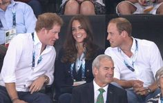 Prince Harry, Catherine, Duchess of Cambridge and Prince William, Duke of Cambridge attend the gymnastics during the Commonwealth Games on July 28, 2014 in Glasgow, Scotland.