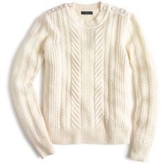 J.Crew Perfect Cable Sweater (270 BRL) ❤ liked on Polyvore featuring tops, sweaters, shirts, white sweater, white button shirt, button shirts, lambswool sweater and petite tops
