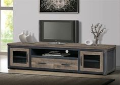 Rustic Vintage Reclaimed Western Wood TV Stand Media Entertainment Center Log