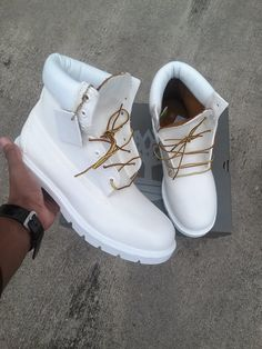 Timberland 6' Boots Custom White by FootSoldierCustoms on Etsy