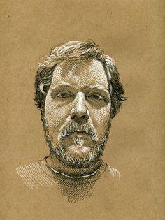 Paul Heaston self portrait on brown paper. Staedtler pigment liner, sakura gel pen on bogus rough sketch pad Life Drawing, Figure Drawing, Drawing Sketches, Art Drawings, Sketching, Paper Drawing, Painting & Drawing, Cross Hatching, Toned Paper
