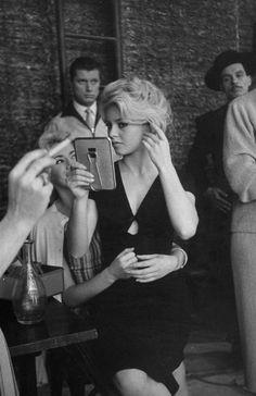 Brigitte Bardot on the set of La Femme et Le Pantin. Life Magazine Photo by Loomis Dean. Bridget Bardot, Brigitte Bardot Style, Classic Hollywood, Old Hollywood, Hollywood Icons, Hollywood Actresses, Hollywood Makeup, Hollywood Style, Hollywood Fashion