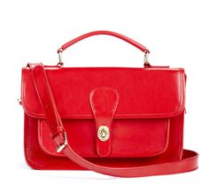 red leather messenger bag <3