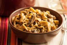 I used less broth, used ground turkey, and didn't add noodles. One-Pot Beef Stroganoff with Egg Noodles Recipe