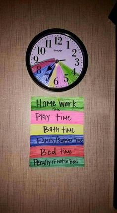 Clock. Color coded. Homework time, play time, bath time, family/supper time, bed time, penalty.