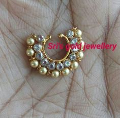 Antique Jewellery Designs, Gold Earrings Designs, Necklace Designs, Jewelry Design, Diamond Nose Ring, Silver Nose Ring, Nose Ring Jewelry, Nose Rings, Bridal Earrings