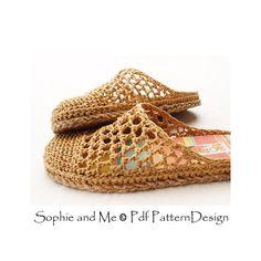 2 en 1-patrón de rafia deslizar-en zapatillas por PdfPatternDesign