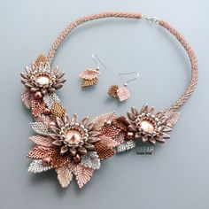 Kanzashi Flower Necklace EXCLUSIVE PDF beading by LeelaBeads