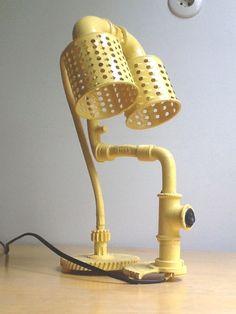 Salvaged yellow lamp   Recyclart