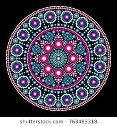 Mandala bohemian vector dot painting, aboriginal dot art, retro folk design inspired by traditional art from australia. Abstract mandala with dots, circles inspired by australian folk art, geometric Mandala Canvas, Mandala Artwork, Mandala Painting, Aboriginal Dot Painting, Dot Art Painting, Painting Templates, Painting Patterns, Mandala Pattern, Mandala Design