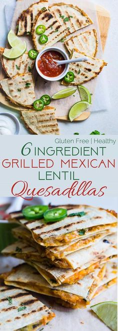Grilled Mexican Lentil Quesadillas - This quick and easy Mexican quesadilla recipe is a tasty, no-fuss summer meal for meatless Monday! Make them for a weeknight meal that everyone will love! Lentil Recipes, Veggie Recipes, Mexican Food Recipes, Vegetarian Recipes, Cooking Recipes, Healthy Recipes, Healthy Meals, Salad Recipes, Vegetarian Protein