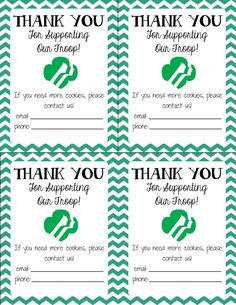 Generic Girl Scout Thank You Notes - great for cookie booth sales