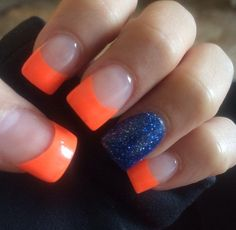 Denver bronco nails!!!!