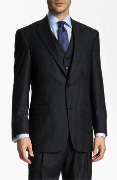 Hart Schaffner Marx stripe three piece suit
