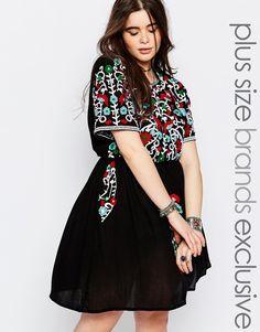 Image 1 ofAlice & You Folk Embroidered Skater Dress