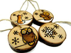 I wood burned these woodland animal ornaments by hand on slices of dogwood branch. I then filled in the design with professional quality acrylic paint, and protected the ornaments with a coat of water-based polyurethane. There are 4 ornaments included in the set: 1 owl, 1 fox, 1 squirrel, and 1 snowflake. The ornaments would make a fantastic addition to a natural or rustic Christmas tree or wreath!    Included:  • Material: Dogwood tree slices (4), wood burned, acrylic paint, polyurethane  •…