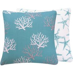 """Turquoise Coral Pillow Cover 20"""" Starfish Coastal Decor Decorative Square Home Decor Pillow, Wonders of the Seas Turquoise Collection"""