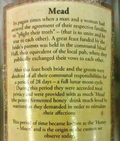 mead please! and can I take a month long honeymoon? Mead Wine, Honey Mead, Mead Hall, How To Make Mead, Mead Recipe, Honey Wine, Pagan Wedding, Wedding Bells, Wedding Ceremony