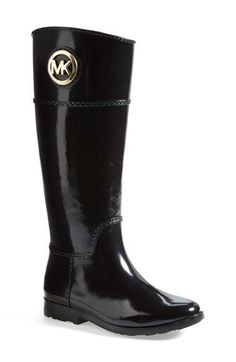 MICHAEL Michael Kors 'Stockard' Rain Boot (Women) at Nordstrom.com. Monogram print and a polished logo medallion add unmistakable signature flair to a sleek, splash-ready rain boot.