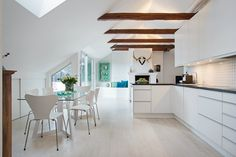 Scandinavian interior design   This home has so much open light: wall of glass, skylights, recessed lights and exploded beams, very spacious