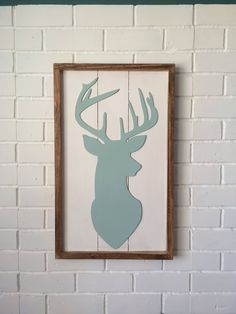 Deer Head Wooden Sign Framed Rustic Art Cabin Decir by HollyBeeandCompany on Etsy