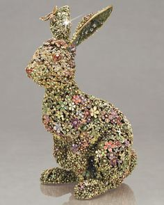 """""""Sacha"""" Boxwood Bunny by Jay Strongwater at Horchow."""