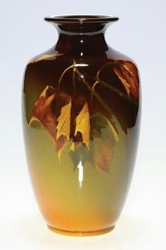 ~Rookwood~Artist: Mary Nourse~Circa 1899~Arrangement Of Leaves In The Process Of Changing Colors-Standard Glazed Vase~