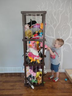 5 ft Model Stuffed animal storage by ByFolks on Etsy, Animals Stuffed Animal Holder, Stuffed Animal Storage, Stuffed Animals, Toy Rooms, Animal Nursery, Wood Bars, Kid Spaces, Small Spaces, Toy Storage