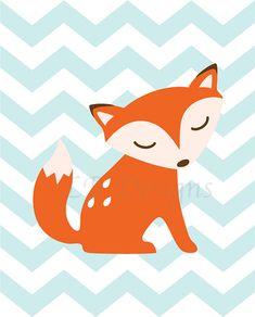 Orange and Baby Blue Chevron Fox/Woodland Nursery by LJBrodock, $10.00