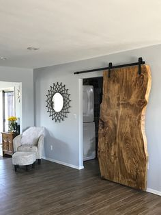 Custom natural edge barn door by woodswan is the new modern! Barn Door Designs, Interior Barn Doors, Rustic Barn Doors, Wood Barn Door, Diy Home Decor, Room Decor, New Homes, Woodworking Projects, Woodworking Shop
