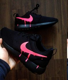 Customized nike roshe one with custom pink candy drip swoosh paint the base shoe used is the nike roshe triple black or nike roshe two triple black or gs Cute Sneakers, Sneakers Mode, Sneakers Fashion, Black Nike Sneakers, Fashion Outfits, Jordan Shoes Girls, Girls Shoes, Shoes Women, Nike Roshe