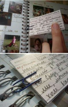 CUTE IDEA - Use a paper clip to add an insert into a planner, smash book, journal, notebook Album Journal, Scrapbook Journal, Travel Scrapbook, Junk Journal, Scrapbook Pages, Journal Covers, Journal Notebook, Ideias Diy, Journal Inspiration