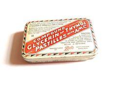 Boots vintage tin, medicine tin, glycerin pastilles, throat medicine, tin box, throat lollies